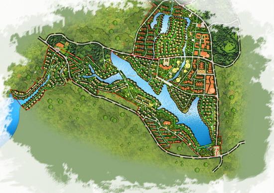 中国特色园林景观手绘总平面图